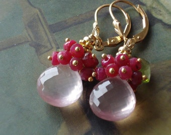 SALE----Spring Rose----rose quartzAA briolette,ruby,peridot,14kgf earrings