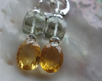 SALE--Green amethyst--Citrine Earrings--- Luxe Style---