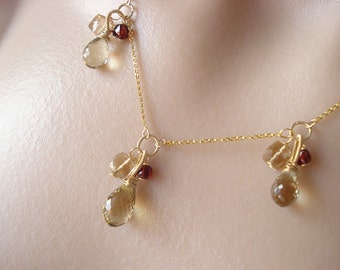 SALE-Cinnamon currant necklace-- beer quartz,red garnet, champagne citrine 14kgf
