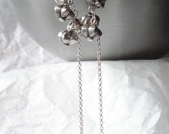 Flower earrings---sterling silver flowers in cascade