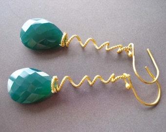 Green Onyx huge briollette,and22k vermeil earrings