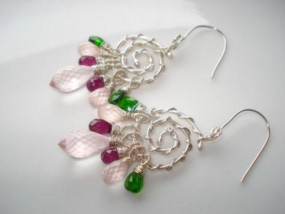 Roses bouquet earrings--,rose quartz,rhodolite garnet,diopside,sterling silver earrings
