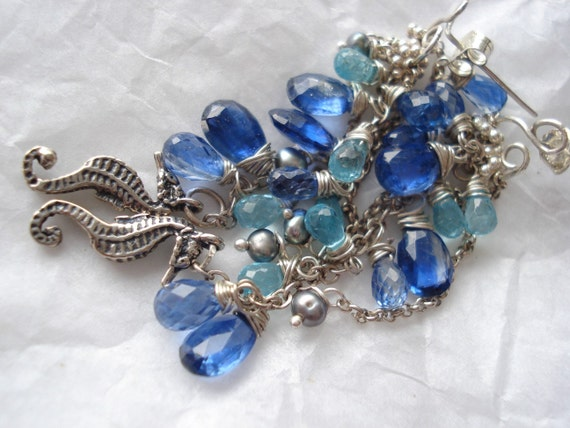 Ibiza beach sea treasure,--Kyanite,apatite,sterling silver earrings
