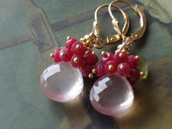 SALE----Spring Rose----rose quartzAA briolette,ruby,peridot,14kgf earrings