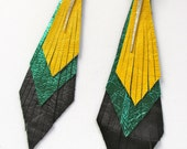 Jah-maica 4 layer Native Anpaytoo Leather earrings