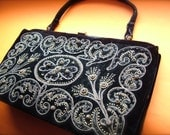 Luscious 1930's vintage Black Velvet and gold beaded and embroidered handbag