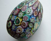 Vintage pre 1950's Italian Murano Glass Millefiori Egg Paperweight with label