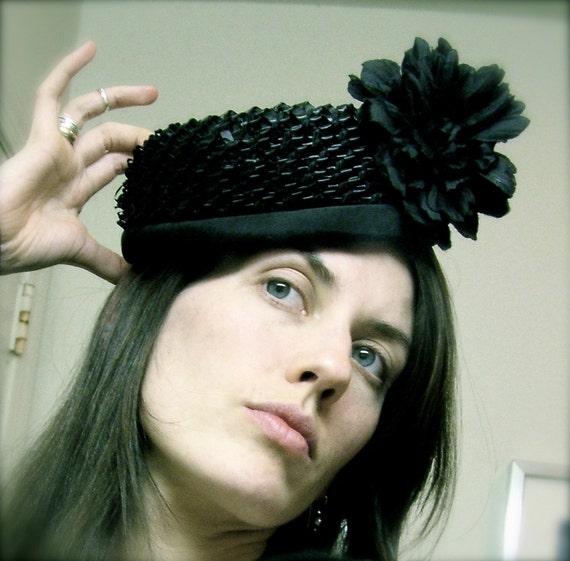 Saucy vintage 50's pillbox hat with Black Peony and lucite hat pin - Peck and Peck - 5th Avenue