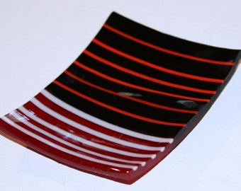 little red and black fused glass sushi dish