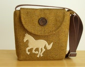Harris Tweed Bag - Equestrian - Handmade Horse Applique -Cross Body Satchel - Messenger Bag