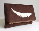 SALE Foldover Clutch - Feather Applique - Southwestern Style - Brown Faux Suede - Zippered Purse - Pouch