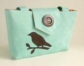 Wayfarer Purse - Handmade Bird Applique  - Faux Suede in Mint Green - Vegan Bag