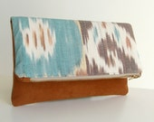 Ikat Foldover Clutch Bag  - Handwoven Ikat and Terracotta Faux Suede - Zippered Purse