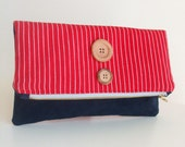 Foldover Clutch Bag - Woven Cotton from Guatemala in Red and White Stripes - Marine Blue Faux Suede