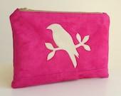 Clutch Bag - Bird Applique - Large Zippered Purse - Fuchsia Pink Faux Suede - Vegan