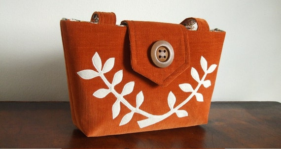 The Wayfarer Purse in Corduroy with a Leafed Branch Applique