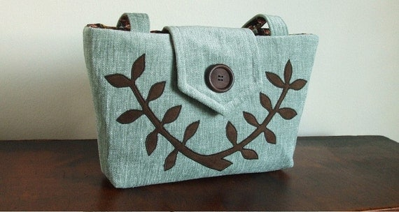 SALE.....The Wayfarer Purse in Robin's Egg Blue Chenille with a Leafed Branch Applique