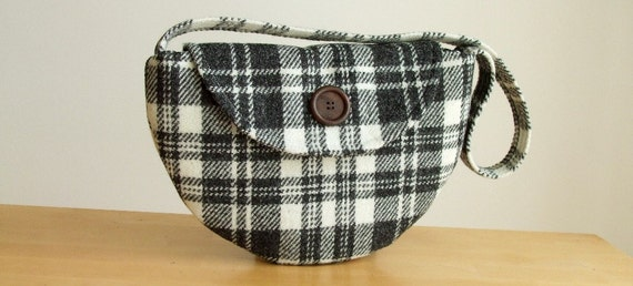 SALE Harris Tweed Bag - Semi-Circle Purse - Black and White Check - Plaid - One of a Kind