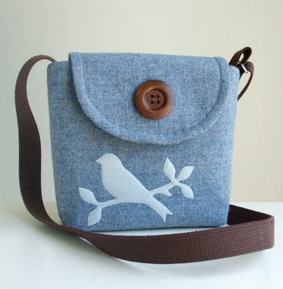 Harris Tweed Bag - Cross Body Satchel with Handmade Bird Applique