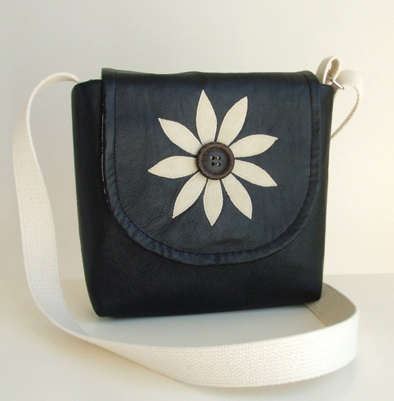SALE Genuine Leather -  Flower Applique - Cross Body Satchel - Messenger Bag