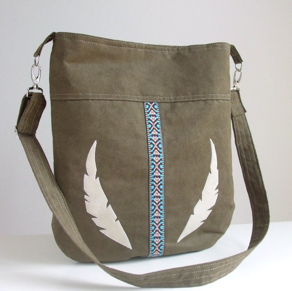 SALE Hobo Bag - Feather Appliques and Southwestern Trim- Olive Green Faux Suede - Vegan