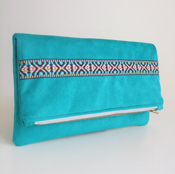 Foldover Clutch Bag - Southwestern Style Woven Trim - Teal Faux Suede - Zippered Envelope Purse