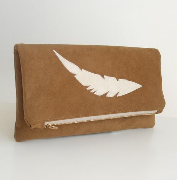 Foldover Clutch - Handmade Feather  Applique -  Faux Suede - Southwestern - Tribal - Vegan