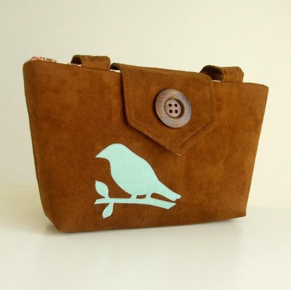 Wayfarer Purse - Bird Bag - Handmade Applique - Chestnut Brown Faux Suede - Vegan