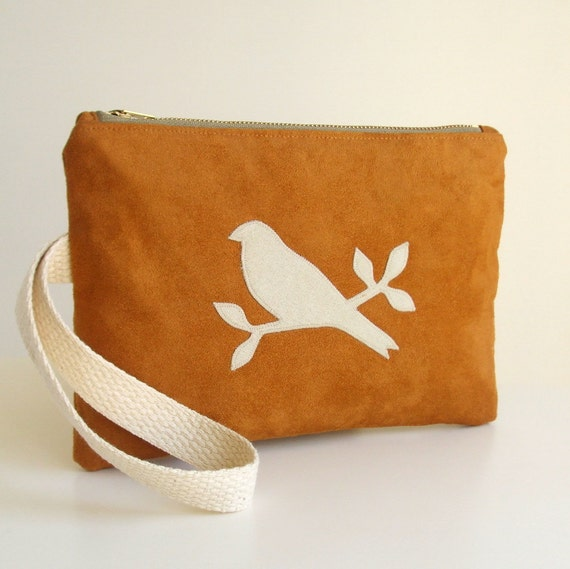 Wristlet - Bird Applique - Clutch Bag - Zipper Purse - Caramel Brown Faux Suede - Vegan