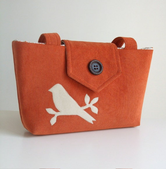 Corduroy Wayfarer Purse - Bird Applique - Tangerine Shoulder Bag - Vegan