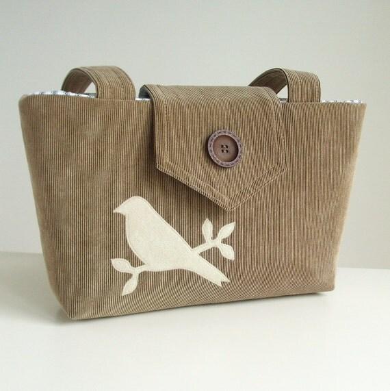 Corduroy Wayfarer Purse - Bird Applique - Khaki - Vegan Bag