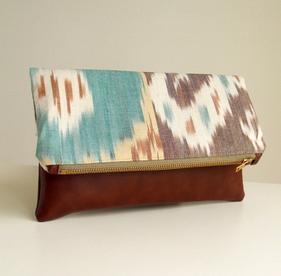 Foldover Clutch - Handwoven Ikat  - Bonded Leather - Zippered Purse - Envelope Bag