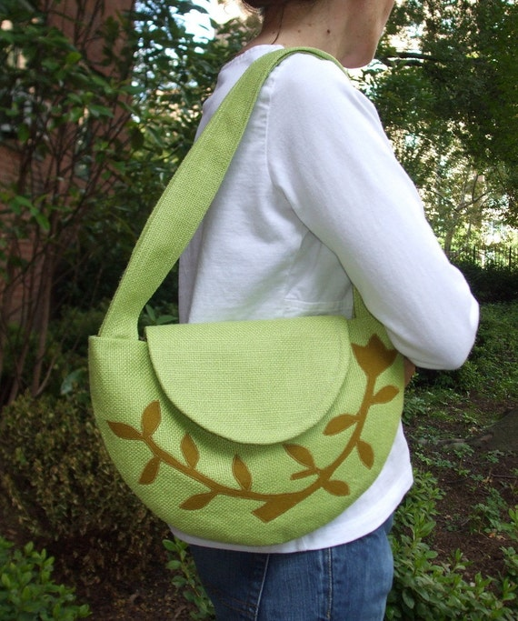 SALE...The Semi-Circle Purse in Linen with a Leafed Branch Applique....ONE OF A KIND