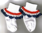 Girl Socks with crochet ruffles - white with red, white and blue ruffle