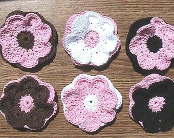 Set of 6 Crochet Flowers - pink with white, black and brown