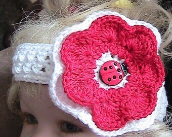 LIL LADYBUG - White Crocheted Headband with Crocheted Flower - white and red