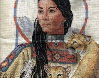 Native American Girl with Lion Cub - CROSS STITCH WALL Hanging