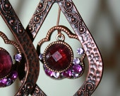 Dark Eggplant - Purple and Copper Chandelier Earrings