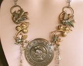 Victorian Necklace - Antique Repousse Watch, Wedding Jewelry, Steampunk, Steam Punk, Off-Beat Bride, Victorian Jewelry, Statement Necklace