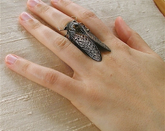 FREE USA SHIPPING !  Adjustable cicada statement ring, insect jewelry, Gothic jewelry,