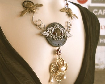 Pendant, Memento Mori  Statement Necklace-The Honey Man - Tintype Jewelry, Tintype Necklace, OOAK, Victorian Jewelry, Victorian Necklace