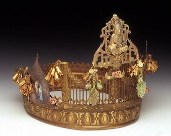 Crown- Pearl in the Lotus, Diadem, Tiara,  LAYAWAY AVAILABLE, Sculpture, OOAK, Head Piece, Art Head Piece, Fine Jewelry