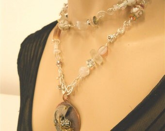 Crystal Statement Necklace -Steampunk BRIDE,  Steampunk jewelry, off-beat bride, wedding jewelry, Victorian jewelry, Fine Jewelry