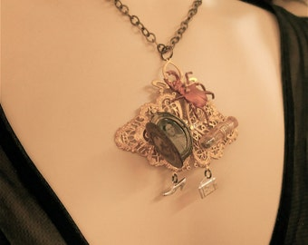 Victorian Necklace - Absinthe Dreamer, Steampunk, Steampunk jewelry, Victorian jewelry, Green Fairy, tintype jewelry