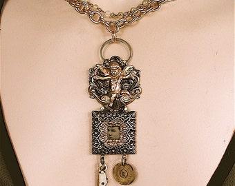 Pendant, Steampunk Necklace - Bessie's Dark Angel - Steam Punk, Victorian Jewelry, Tintype Jewelry, Steampunk Jewelry, OOAK
