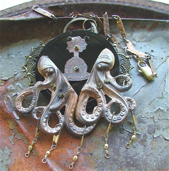 Octopus Birthday Necklace, Octopus jewelry, Octopus necklace, Cthulhu, Cthulhu jewelry, kraken, Octo, Steampunk, Statement necklace
