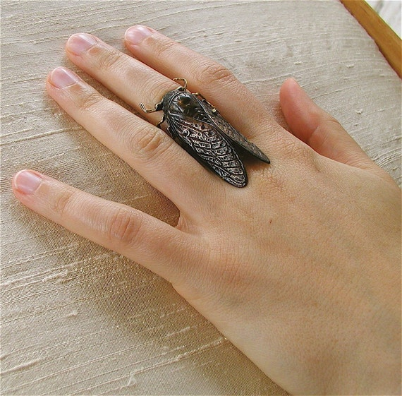 FREE USA SHIPPING!!   Adjustable cicada statement ring, insect jewelry, Gothic jewelry,