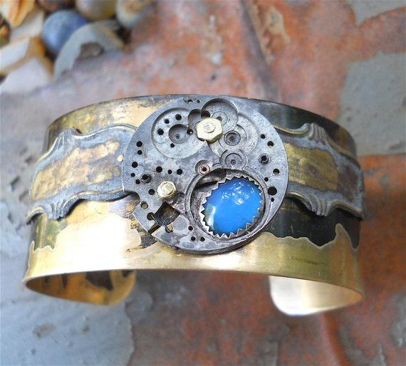 Cuff Bracelet  - Blue Agate Cuff, Steampunk, Steampunk jewelry, Steampunk Cuff, Victorian Jewelry, Victorian Bracelet