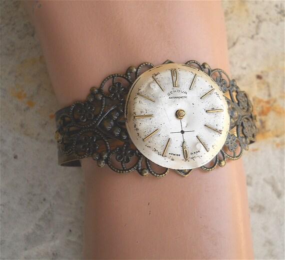 Cuff,  Watch Face Bracelet, Statement Bracelet, Steampunk Jewelry, Cuff, Steampunk Bracelet, watch face bracelet, Victorian Bracelet