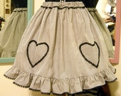 Black and Cream Gingham Heart Applique Skirt -Size M/L